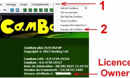 Mettre votre fichier de licence dans CAMBAM