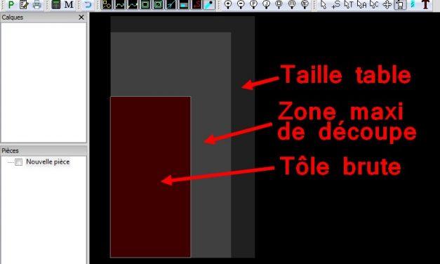 Les zones affichées dans sheetcam